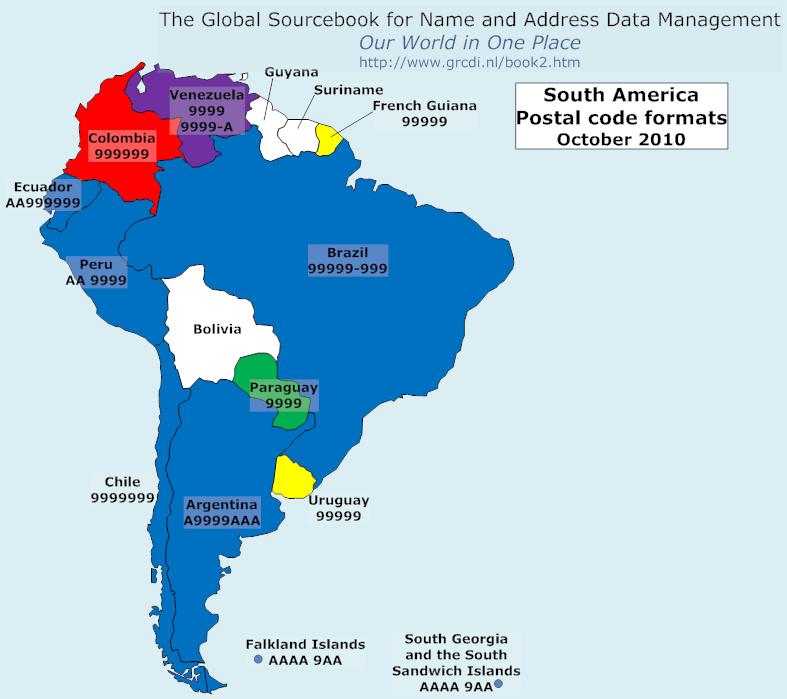 Global sourcebook for international data management postal code formats south america external freerunsca Images