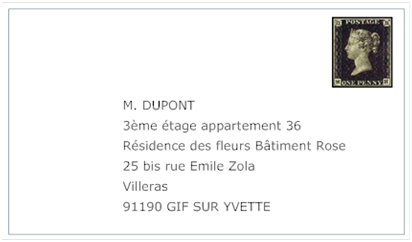 In french, how would you write this? Address?